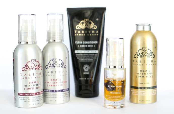 Tabitha James Kraan review of Hair cleanser, organic scented hair oil and organic dry shampoo