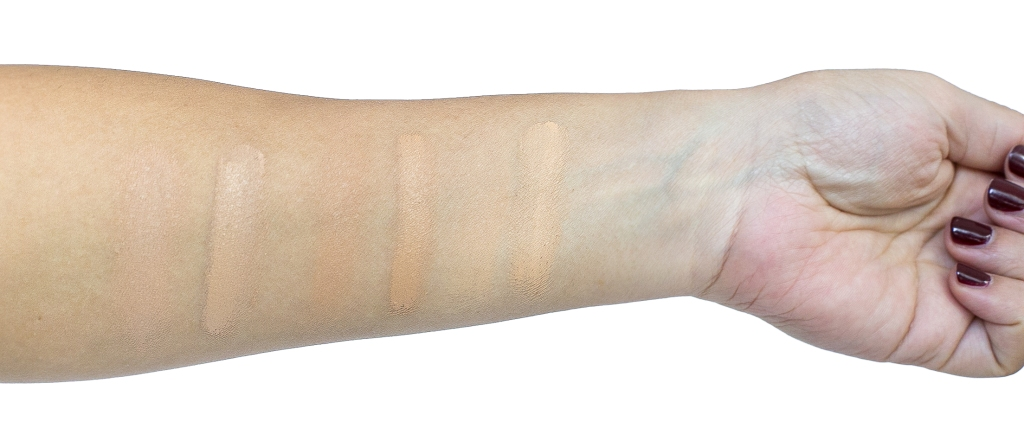 Kjaer Weis Foundation swatches in Just Sheer, Illusion and Subtlety